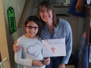 "Angelina made this awesome card for Ike and I for our efforts at the GAIGs.  It says ""I kicked butt at my horse show."""